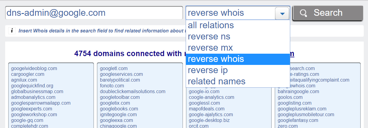 Reverse Whois
